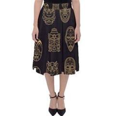 Indian Aztec African Historic Tribal Mask Seamless Pattern Classic Midi Skirt