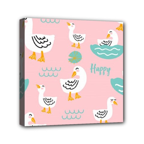Cute Happy Duck Gift Card Design Seamless Pattern Template Mini Canvas 6  X 6  (stretched)