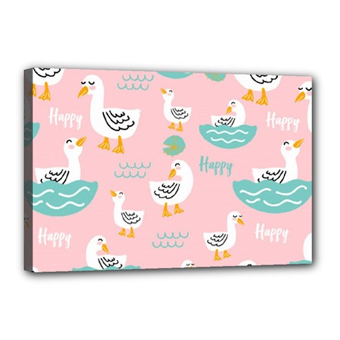 Cute Happy Duck Gift Card Design Seamless Pattern Template Canvas 18  X 12  (stretched)