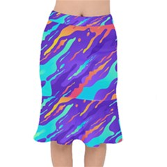 Multicolored Abstract Background Short Mermaid Skirt by Vaneshart