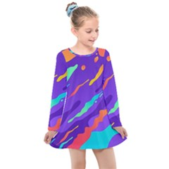 Multicolored Abstract Background Kids  Long Sleeve Dress