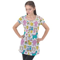 Baby Care Stuff Clothes Toys Cartoon Seamless Pattern Puff Sleeve Tunic Top