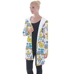 Baby Care Stuff Clothes Toys Cartoon Seamless Pattern Longline Hooded Cardigan