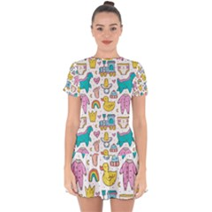 Baby Care Stuff Clothes Toys Cartoon Seamless Pattern Drop Hem Mini Chiffon Dress by Vaneshart