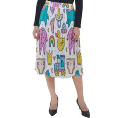 Baby Care Stuff Clothes Toys Cartoon Seamless Pattern Classic Velour Midi Skirt