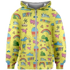 Travel Pattern Kids  Zipper Hoodie Without Drawstring by Vaneshart