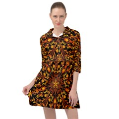 Round Frame Bees Honey Drops Insects Khokhloma Decor Summer Spring Themes Mini Skater Shirt Dress