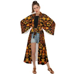 Round Frame Bees Honey Drops Insects Khokhloma Decor Summer Spring Themes Maxi Kimono