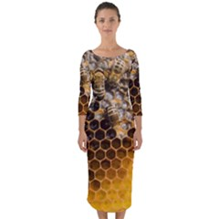 Honeycomb With Bees Quarter Sleeve Midi Bodycon Dress