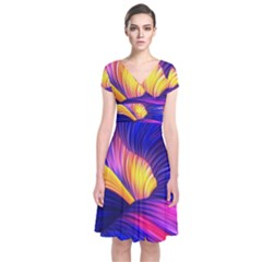 Abstract Antelope Pattern Background Short Sleeve Front Wrap Dress