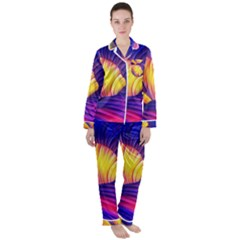 Abstract Antelope Pattern Background Satin Long Sleeve Pyjamas Set