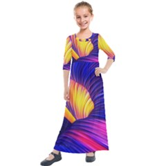 Abstract Antelope Pattern Background Kids  Quarter Sleeve Maxi Dress