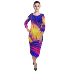 Abstract Antelope Pattern Background Quarter Sleeve Midi Velour Bodycon Dress