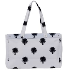 Black And White Tropical Print Pattern Canvas Work Bag