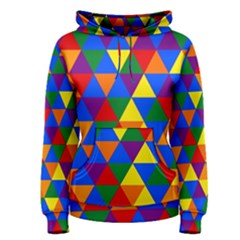 Gay Pride Alternating Rainbow Triangle Pattern Women s Pullover Hoodie by VernenInkPride