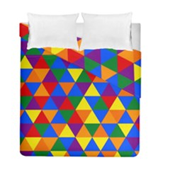 Gay Pride Alternating Rainbow Triangle Pattern Duvet Cover Double Side (full/ Double Size) by VernenInkPride