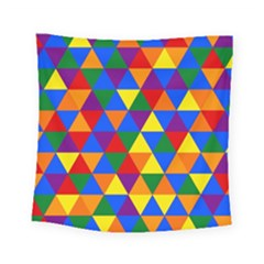 Gay Pride Alternating Rainbow Triangle Pattern Square Tapestry (small)