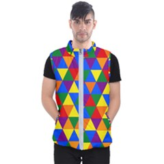 Gay Pride Alternating Rainbow Triangle Pattern Men s Puffer Vest by VernenInkPride