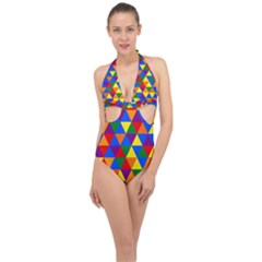 Gay Pride Alternating Rainbow Triangle Pattern Halter Front Plunge Swimsuit