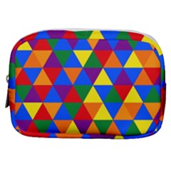 Gay Pride Alternating Rainbow Triangle Pattern Make Up Pouch (small) by VernenInkPride