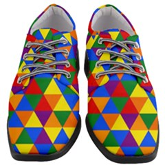 Gay Pride Alternating Rainbow Triangle Pattern Women Heeled Oxford Shoes