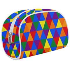 Gay Pride Alternating Rainbow Triangle Pattern Makeup Case (medium)