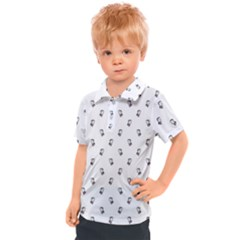 Children With Backpack Cartoon Drawing Print Pattern Kids  Polo Tee