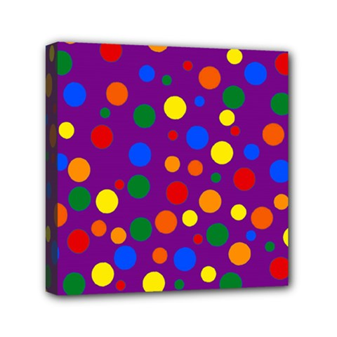 Gay Pride Rainbow Multicolor Dots Mini Canvas 6  X 6  (stretched) by VernenInkPride