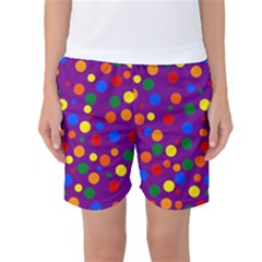 Gay Pride Rainbow Multicolor Dots Women s Basketball Shorts