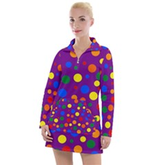 Gay Pride Rainbow Multicolor Dots Women s Long Sleeve Casual Dress