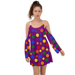 Gay Pride Rainbow Multicolor Dots Kimono Sleeves Boho Dress