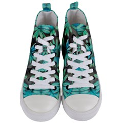 Blue Florals As A Ornate Contemplative Collage Women s Mid-top Canvas Sneakers