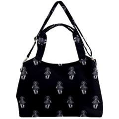 Creepy Skull Doll Motif Print Pattern Double Compartment Shoulder Bag