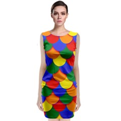 Gay Pride Scalloped Scale Pattern Classic Sleeveless Midi Dress