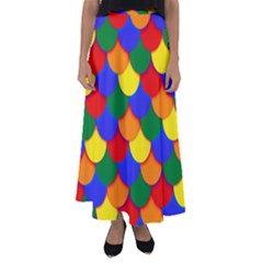 Gay Pride Scalloped Scale Pattern Flared Maxi Skirt by VernenInkPride