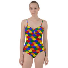 Gay Pride Scalloped Scale Pattern Sweetheart Tankini Set