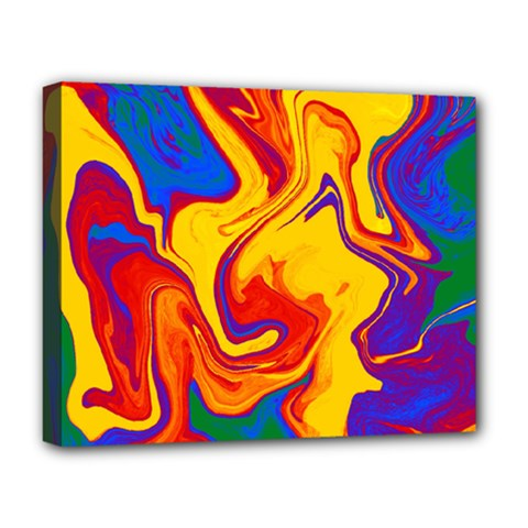 Gay Pride Swirled Colors Deluxe Canvas 20  X 16  (stretched) by VernenInkPride