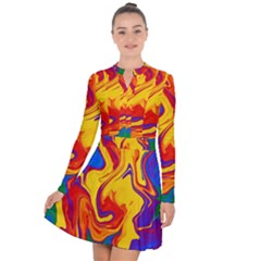 Gay Pride Swirled Colors Long Sleeve Panel Dress by VernenInkPride