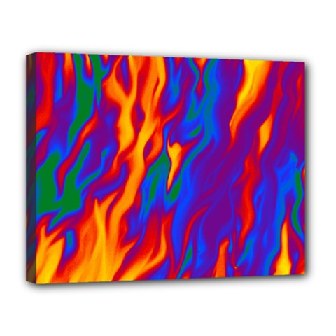 Gay Pride Abstract Smokey Shapes Canvas 14  X 11  (stretched) by VernenInkPride