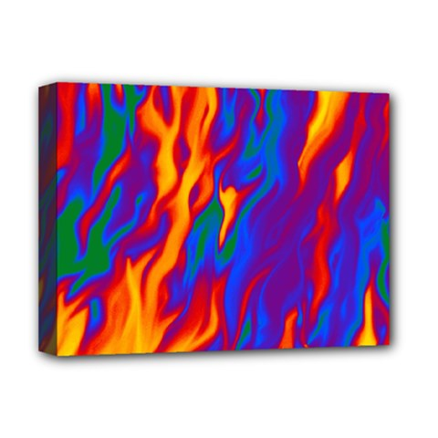 Gay Pride Abstract Smokey Shapes Deluxe Canvas 16  X 12  (stretched)  by VernenInkPride