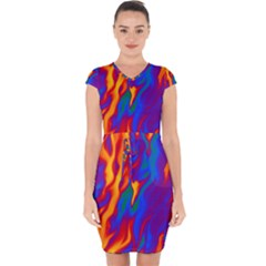 Gay Pride Abstract Smokey Shapes Capsleeve Drawstring Dress  by VernenInkPride