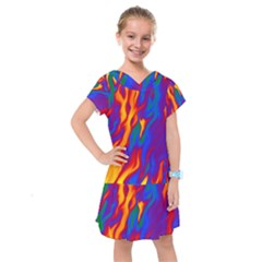 Gay Pride Abstract Smokey Shapes Kids  Drop Waist Dress