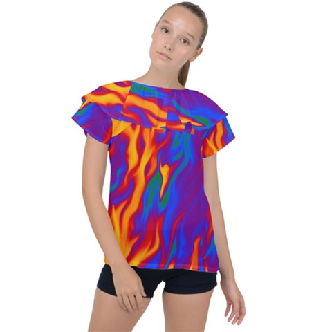 Gay Pride Abstract Smokey Shapes Ruffle Collar Chiffon Blouse by VernenInkPride