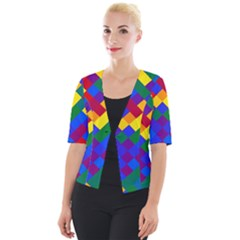 Gay Pride Diagonal Pixels Design Cropped Button Cardigan by VernenInkPride