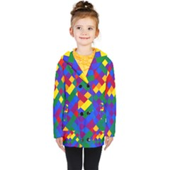 Gay Pride Diagonal Pixels Design Kids  Double Breasted Button Coat by VernenInkPride