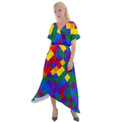 Gay Pride Diagonal Pixels Design Cross Front Sharkbite Hem Maxi Dress