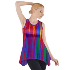 Gay Pride Rainbow Vertical Paint Strokes Side Drop Tank Tunic