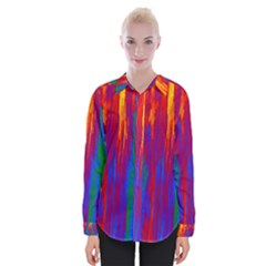 Gay Pride Rainbow Vertical Paint Strokes Womens Long Sleeve Shirt