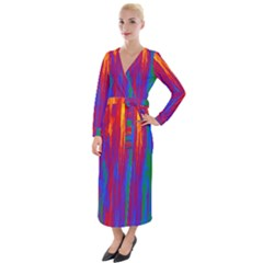 Gay Pride Rainbow Vertical Paint Strokes Velvet Maxi Wrap Dress