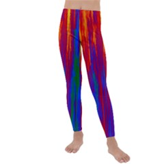 Gay Pride Rainbow Vertical Paint Strokes Kids  Lightweight Velour Leggings by VernenInkPride